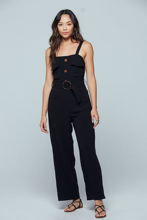 Geneva Black Sleeveless Jumpsuit Detail