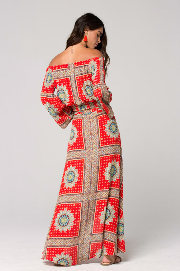 Geneva Medallion Scarf Print Wrap Maxi Skirt Back