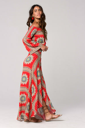 Geneva Medallion Scarf Print Wrap Maxi Skirt Side