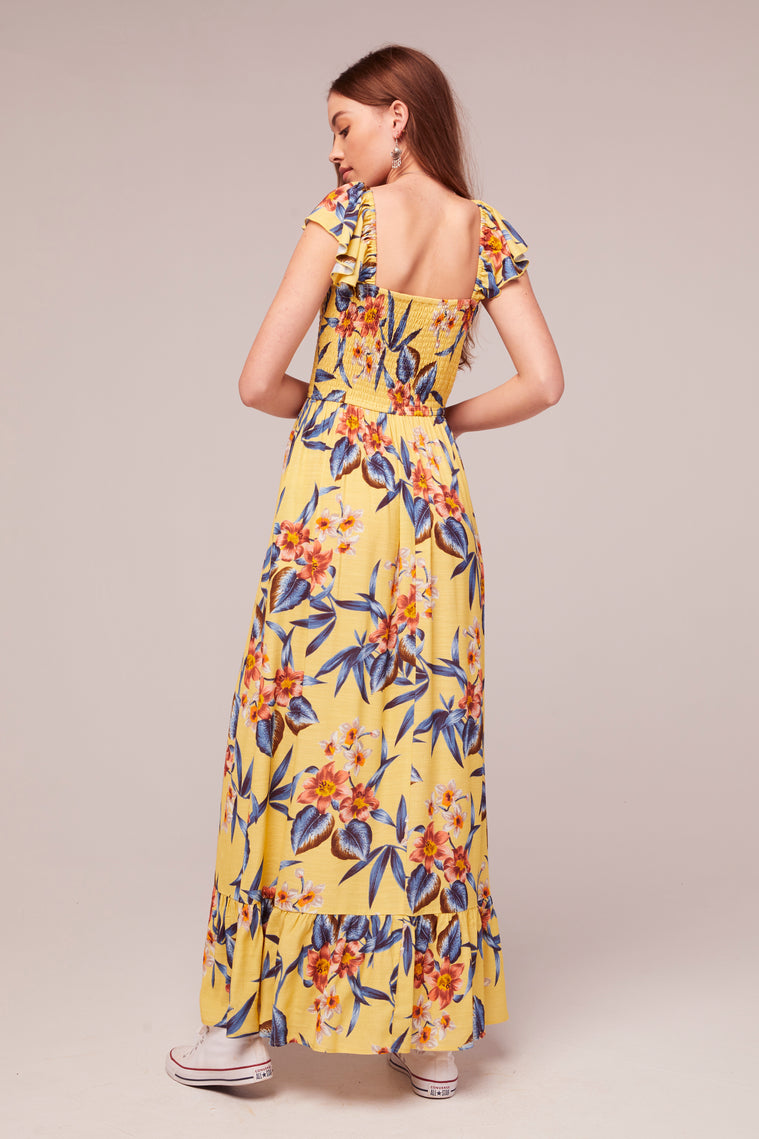 Geranium Tropical Banana Print Maxi Dress Back