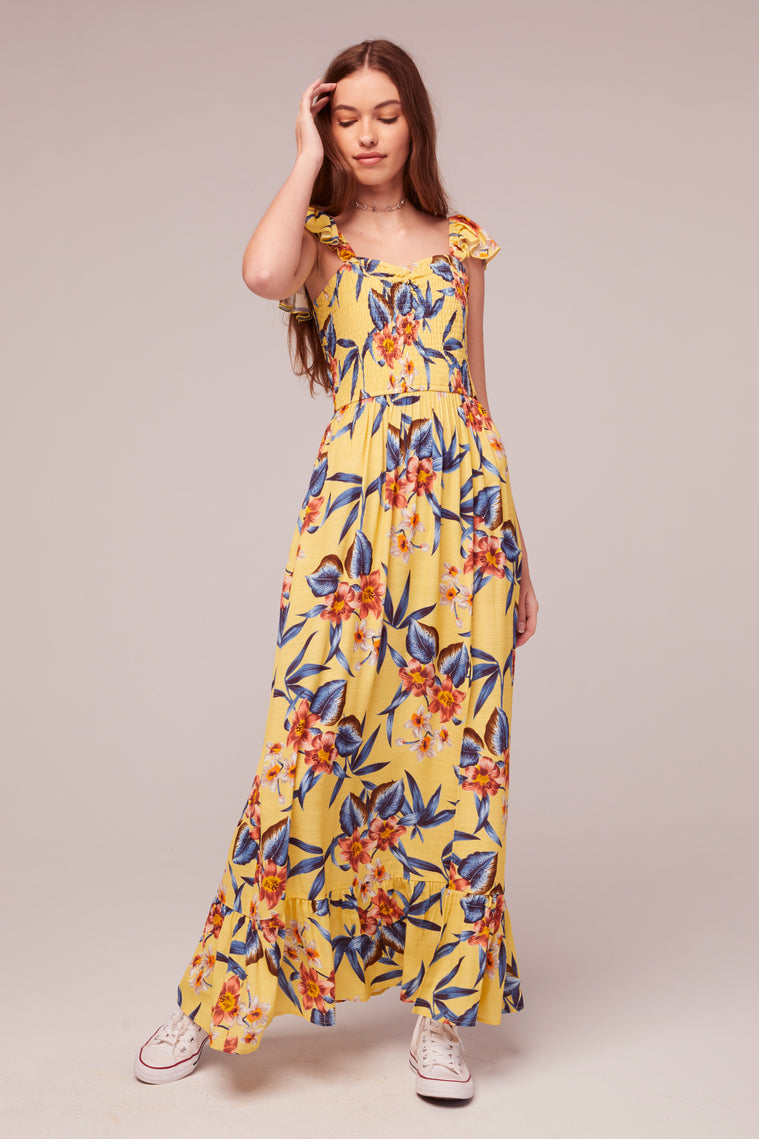 Geranium Tropical Banana Print Maxi Dress Detail