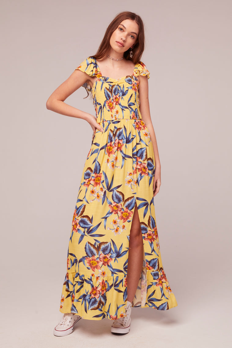 Geranium Tropical Banana Print Maxi Dress Master