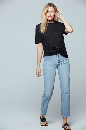 Giza Twist Front Black Tee