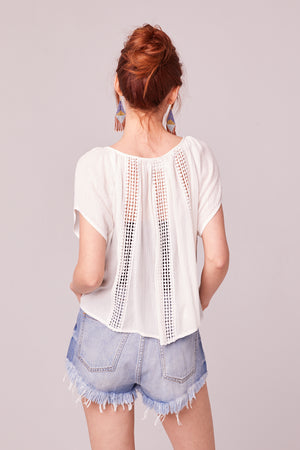 Glory White Crochet Trim Top Back