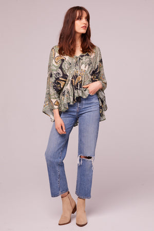 Greenleaf Ave Paisley Batwing Blouse Detail