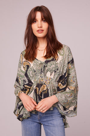 Greenleaf Ave Paisley Batwing Blouse Front
