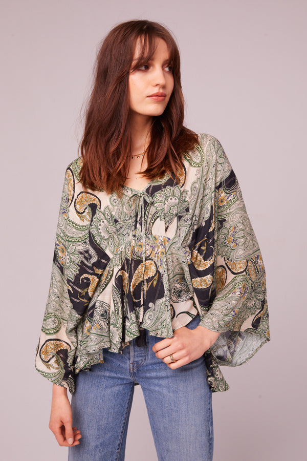 Greenleaf Ave Paisley Batwing Blouse Master