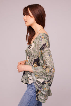 Greenleaf Ave Paisley Batwing Blouse Side