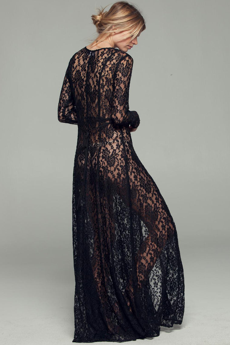 Gypsy Nights Black Lace Sheer Duster Back