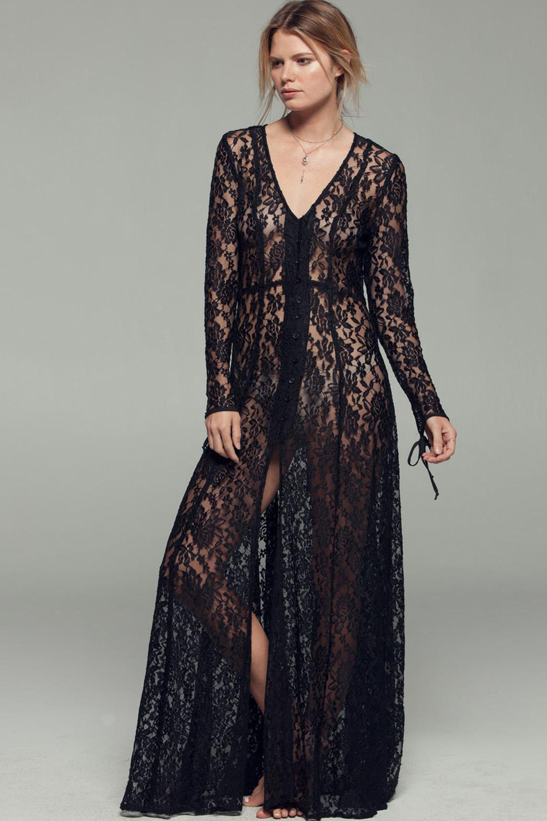 Gypsy Nights Black Lace Sheer Duster Master