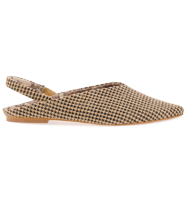 Heather Slingback Jute Fabric Vegan Flats Side