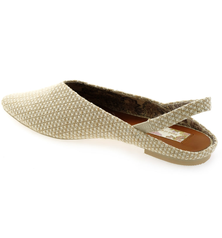 Heather Slingback Jute Fabric Vegan Flats Back