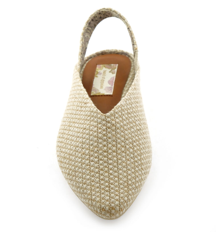 Heather Slingback Jute Fabric Vegan Flats Detail