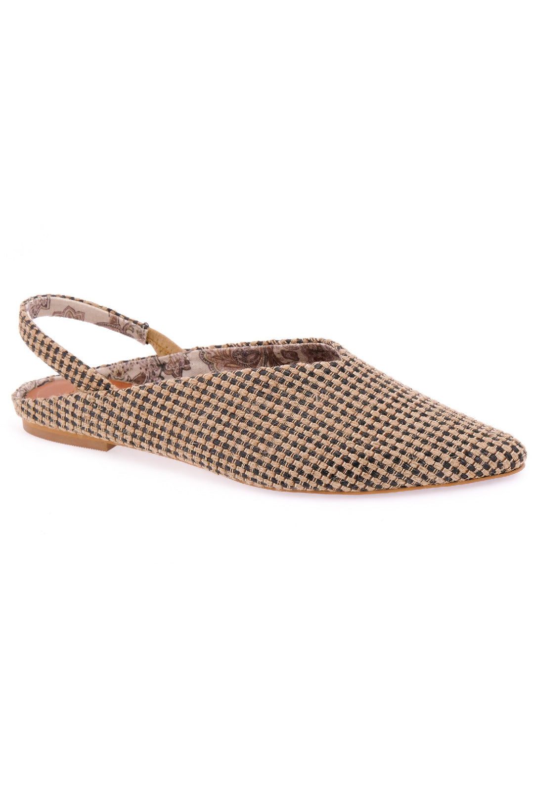 Heather Slingback Jute Fabric Vegan Flats Master