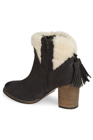 Helena Black Leather Shearling Cuff Bootie Back