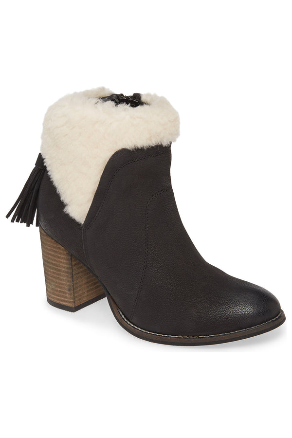 Helena Black Leather Shearling Cuff Bootie Master