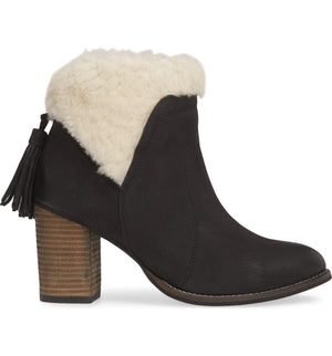 Helena Black Leather Shearling Cuff Bootie Side