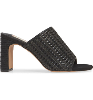 Hermosa Black Woven Vegan Leather Sandal Side