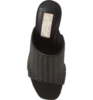 Hermosa Black Woven Vegan Leather Sandal Top