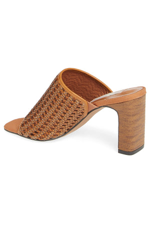Hermosa Cognac Woven Vegan Leather Sandal Back