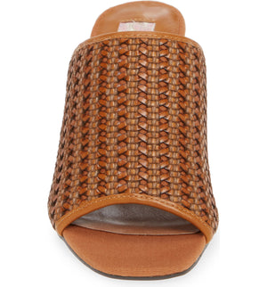 Hermosa Cognac Woven Vegan Leather Sandal Front