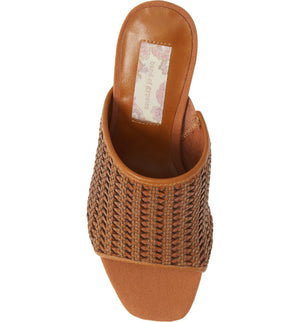 Hermosa Cognac Woven Vegan Leather Sandal Top