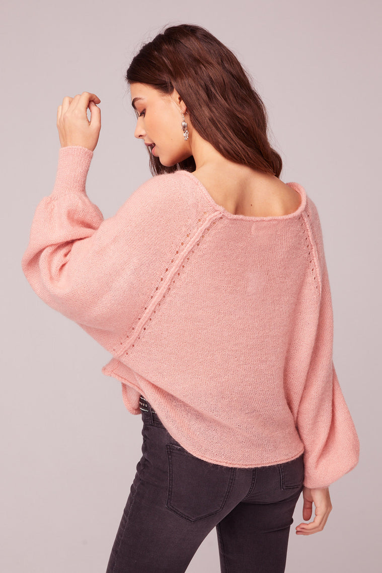 Hey Baby Blush Bishop Sleeve Sweater Detail
