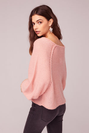 Hey Baby Blush Bishop Sleeve Sweater Back