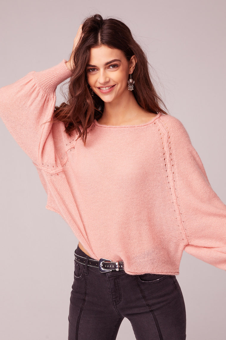 Hey Baby Blush Bishop Sleeve Sweater Close
