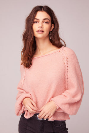 Hey Baby Blush Bishop Sleeve Sweater Detail2