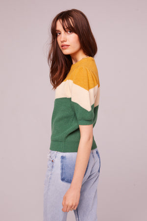 Highland Puff Sleeve Colorblock Sweater
