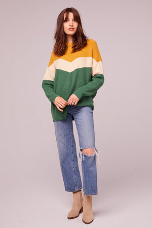 Hillhurst Long Sleeve Colorblock Sweater Detail