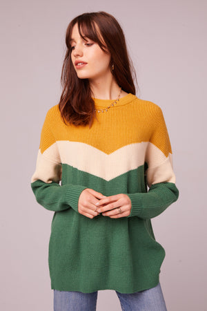 Hillhurst Long Sleeve Colorblock Sweater Front