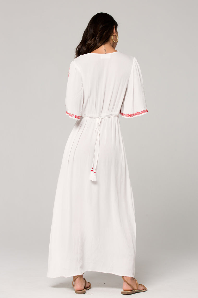Hilo Embroidered White Maxi Dress Back 2
