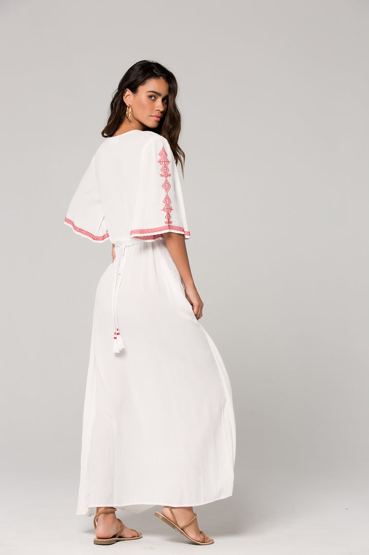 Hilo Embroidered White Maxi Dress Back