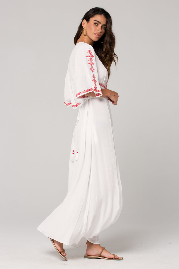 Hilo Embroidered White Maxi Dress Side Detail