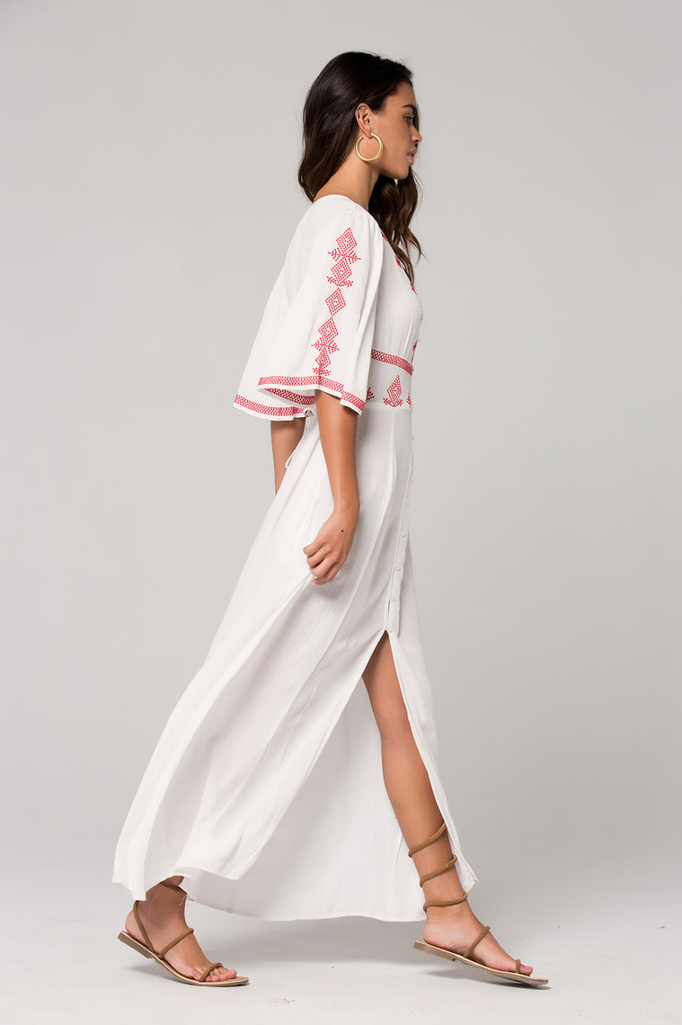 Hilo Embroidered White Maxi Dress Side
