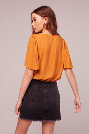 Honey Shirred Center Front Top Back