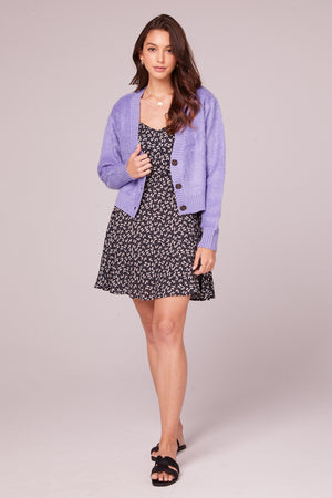 Hopkins Lavender Button Up Cardigan Detail