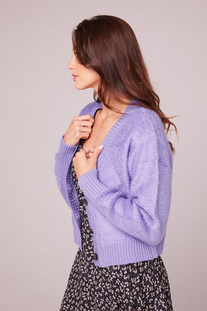 Hopkins Lavender Button Up Cardigan Side