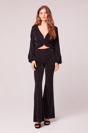 Huit Black Metallic Textured Knit Flair Pant