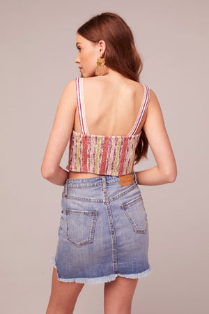 Hydrangea Stripe Print Crop Top Back