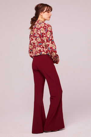 Imperial Burgundy Cropped Floral Tie Top Back