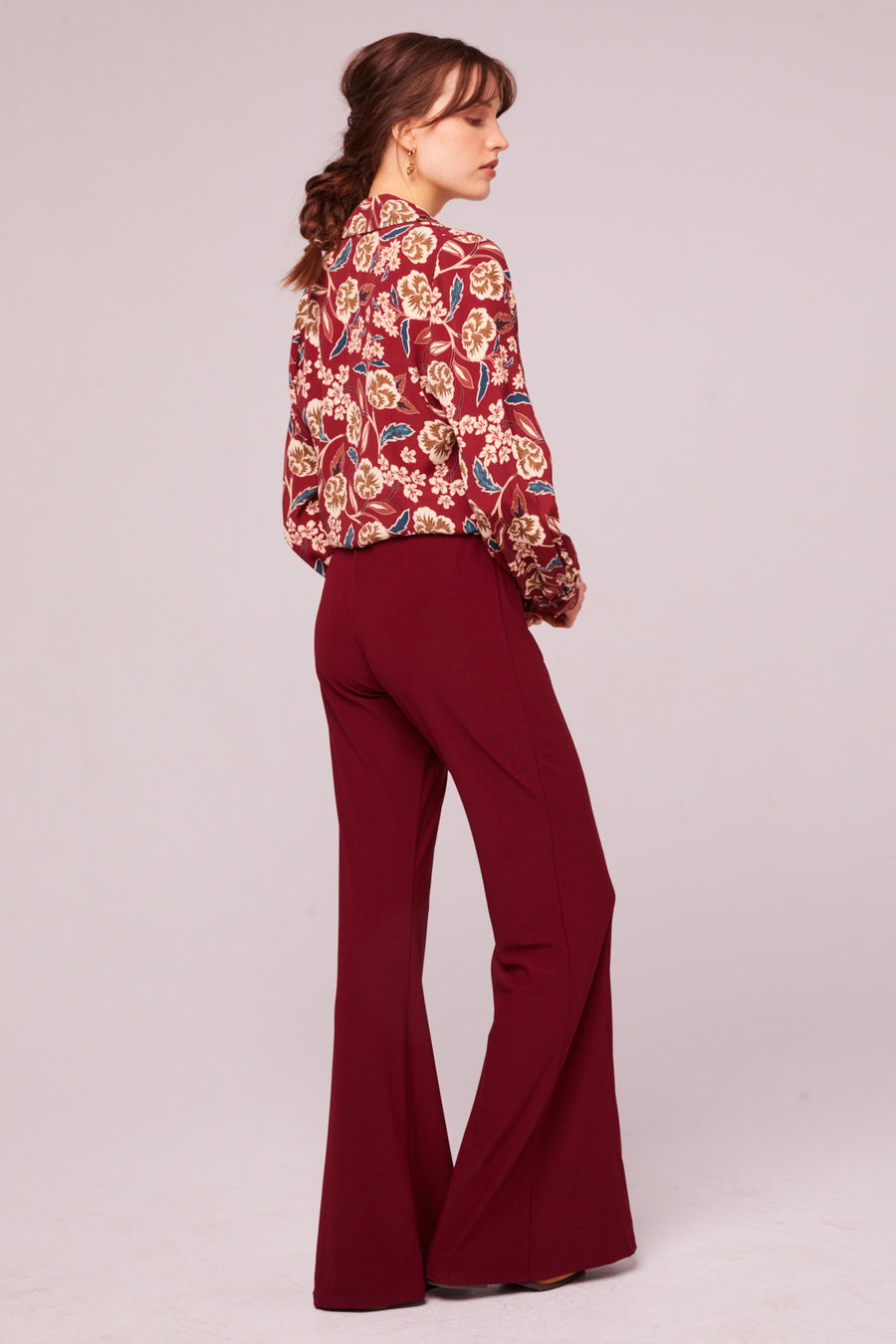 Imperial Burgundy Cropped Floral Tie Top Master