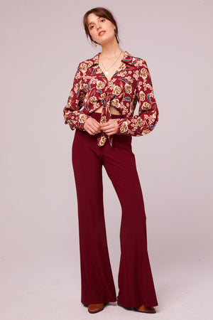Imperial Burgundy Cropped Floral Tie Top Detail