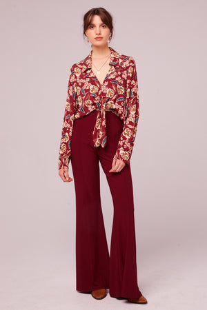 Imperial Burgundy Cropped Floral Tie Top Front