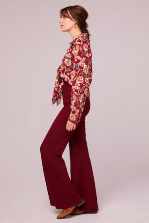 Imperial Burgundy Cropped Floral Tie Top Side