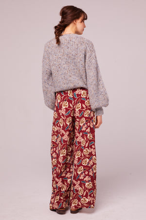 Imperial Burgundy Floral Wide Leg Pant Back