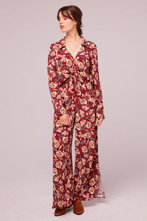 Imperial Burgundy Floral Wide Leg Pant Detail