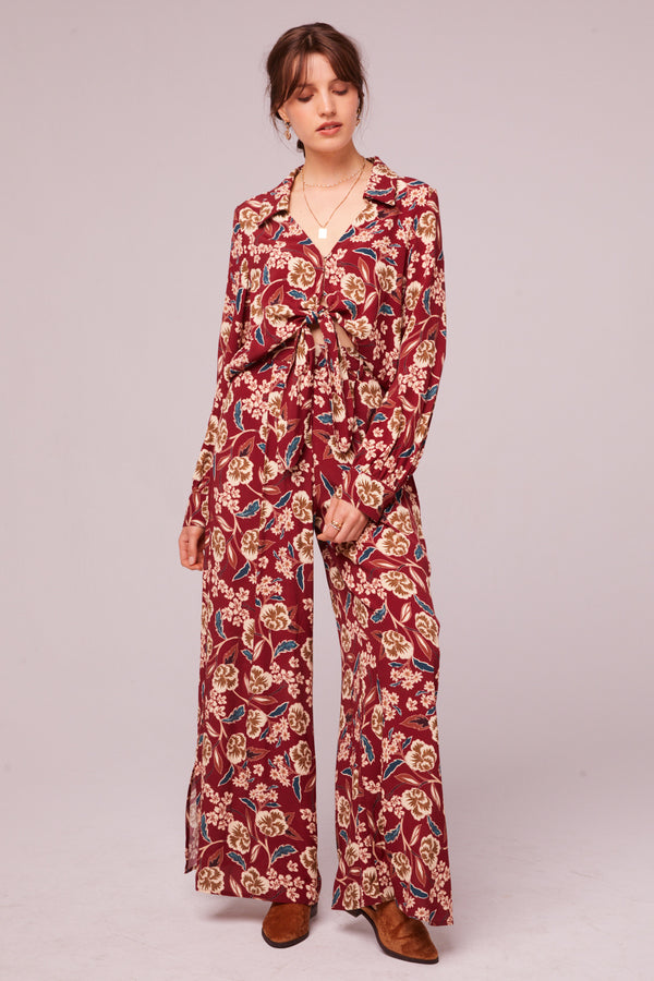 Imperial Burgundy Floral Wide Leg Pant Master